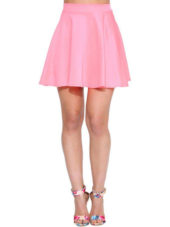 online High-Waisted Solid Color Ruffled Mini Skirt - PINK S