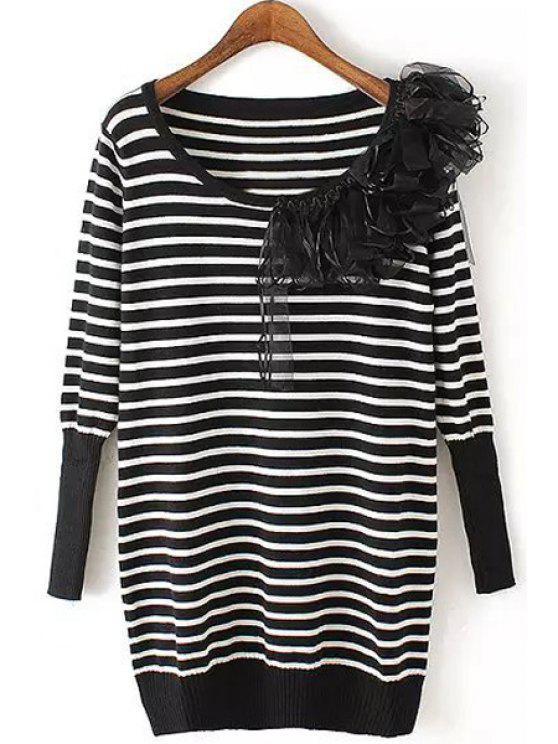 online Black White Stripe Voile Splicing Sweater - WHITE AND BLACK S