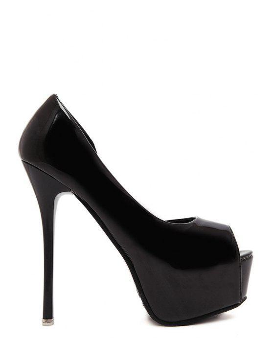 new Solid Color Platform Peep Toe Shoes - BLACK 34