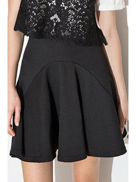 lady High-Waisted Black Spliced Mini Skirt - BLACK M
