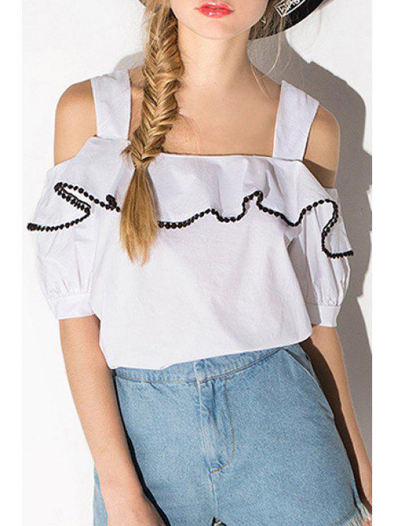 shops Square Neck Lace Spliced Ruffle White Blouse - WHITE S