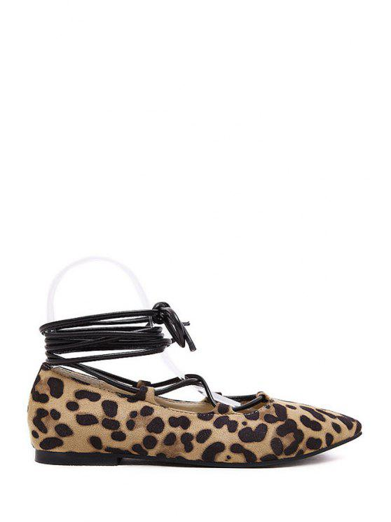 online Lace-Up Leopard Print Pointed Toe Flat Shoes - LEOPARD 36