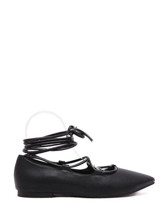 ladies Lace-Up Pointed Toe Flat Shoes - BLACK 36