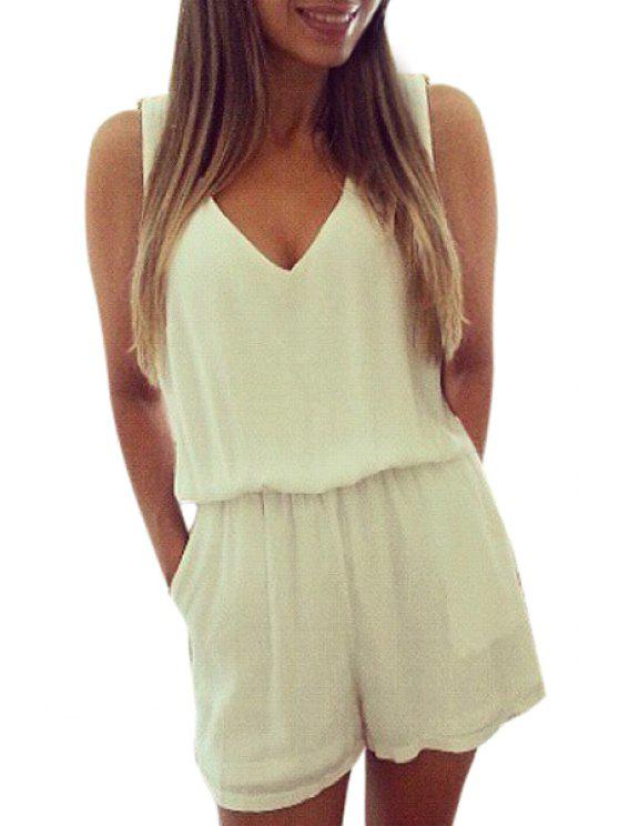 shop V-Neck Backless Lace Splicing Romper - WHITE L
