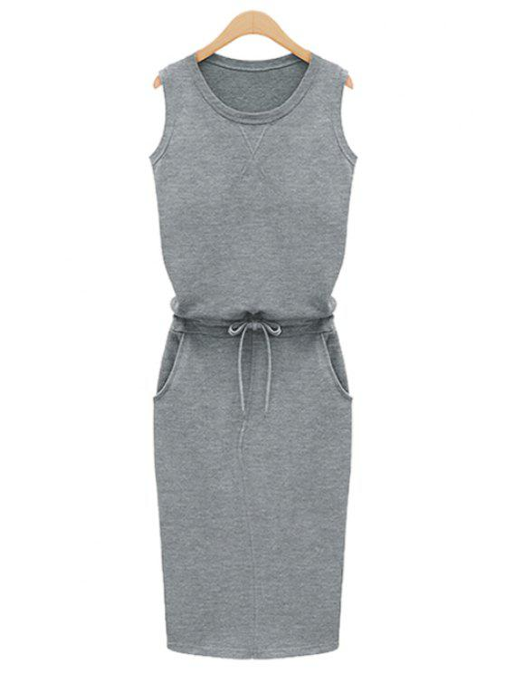 affordable Jewel Neck Solid Color Tie-Up Dress - GRAY M