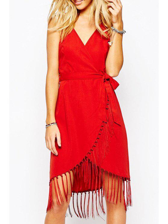 best Fringe Splicing Belt Sleeveless Dress - RED M
