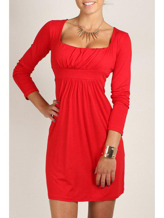 lady Square Neck Solid Color Long Sleeve Dress - RED XL