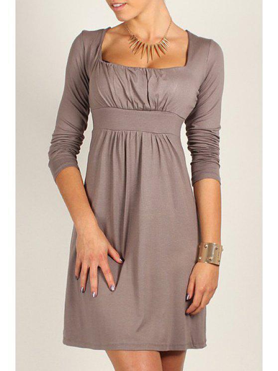 shops Square Neck Solid Color Long Sleeve Dress - CAMEL M