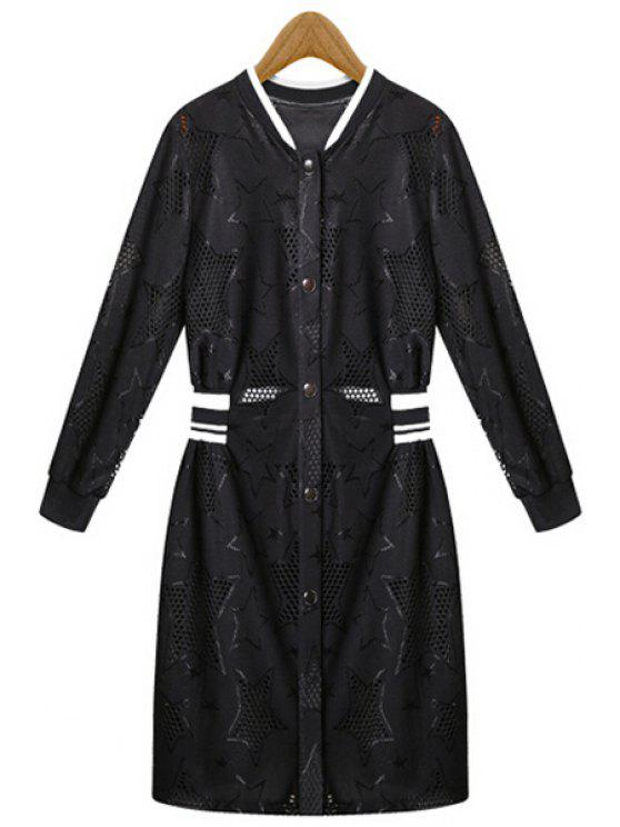 women's Black White Stripe Openwork Long Sleeve Coat - BLACK M