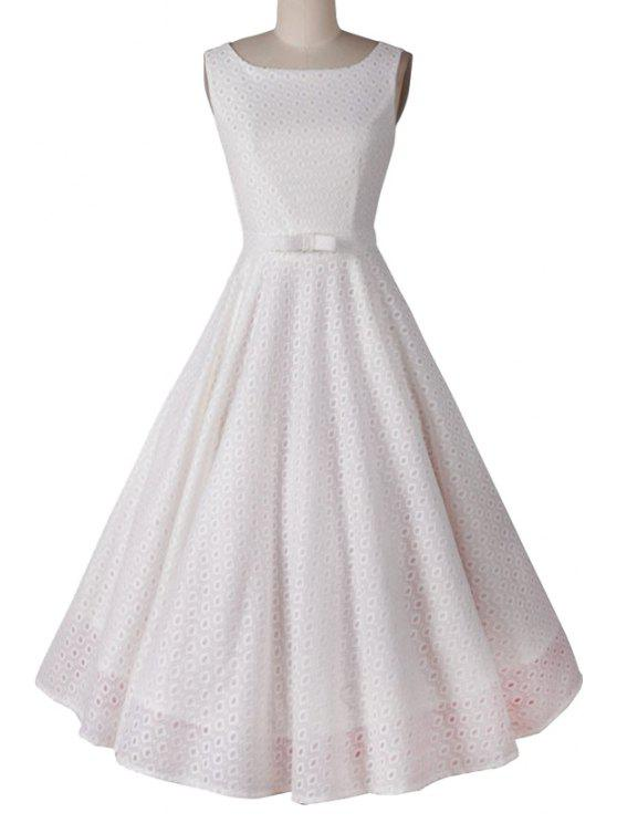 new Polka Dot Ball Gown Sleeveless Dress - WHITE S