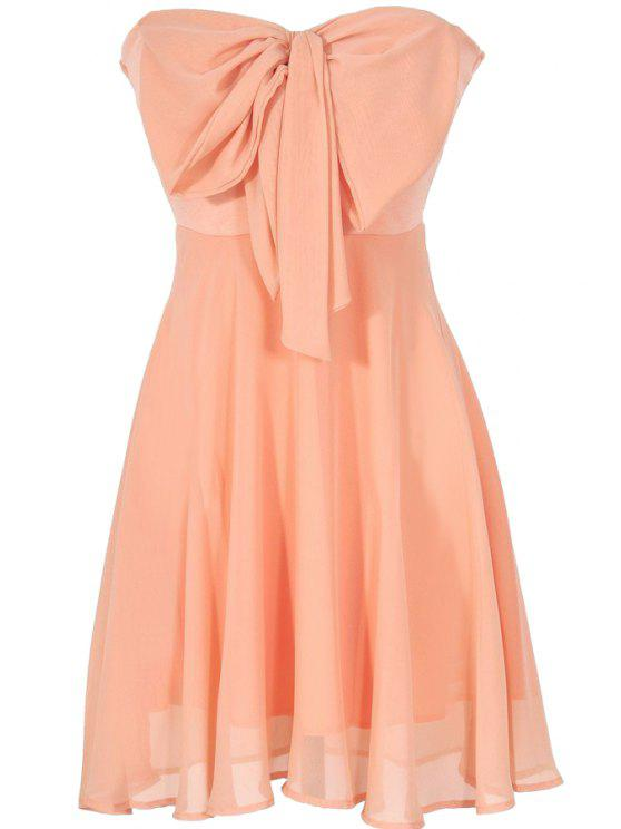 chic Strappless Bowknot Splicing Sleeveless Dress - ORANGE S