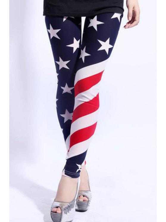 fancy American Flag Pattern Legging - BLUE AND RED ONE SIZE(FIT SIZE XS TO M)