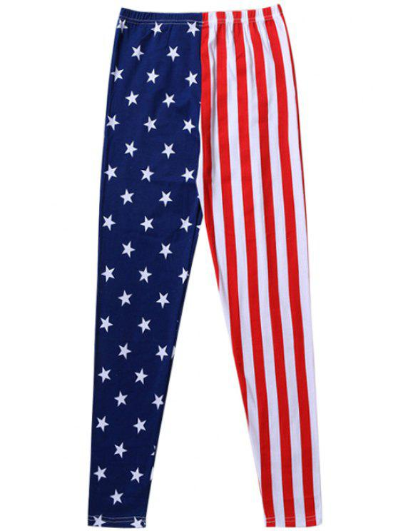 womens American Flag Elastic Waist Legging - BLUE AND RED ONE SIZE(FIT SIZE XS TO M)