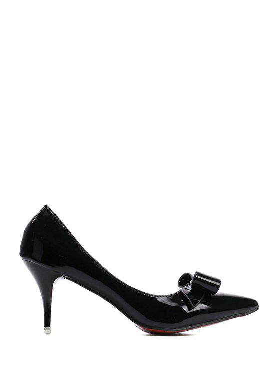 sale Patent Leather Bow Pointed Toe Pumps - BLACK 35