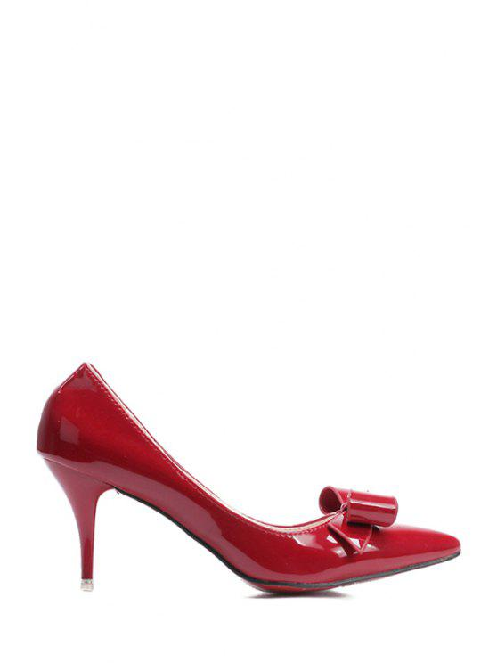 2019 Patent Leather Bow Pointed Toe Pumps In RED 36