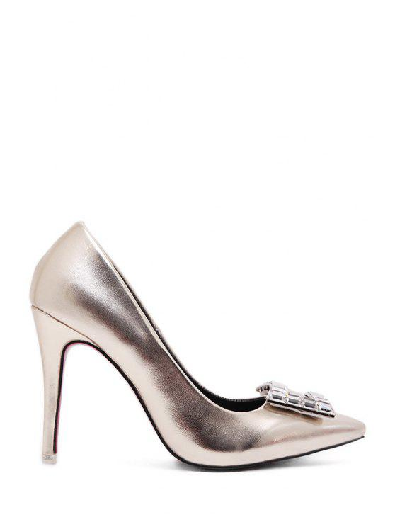 shop Patent Leather Rhinestones Pointed Toe Pumps - GOLDEN 37
