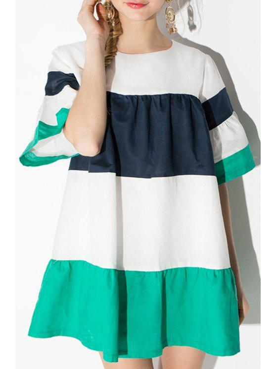 online Puff Sleeve Color Block Striped Dress - WHITE L