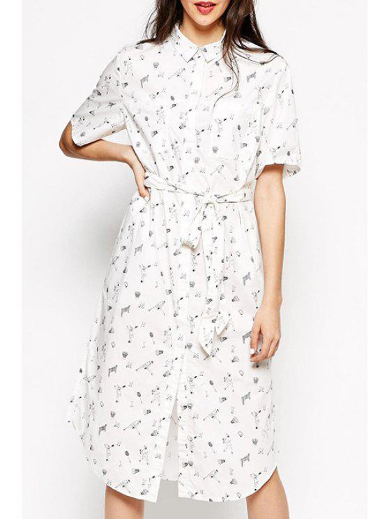 outfits Shirt Collar Character Print Midi Dress - WHITE M