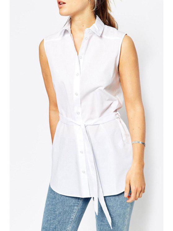 womens White Turn Down Collar Sleeveless Shirt - WHITE S