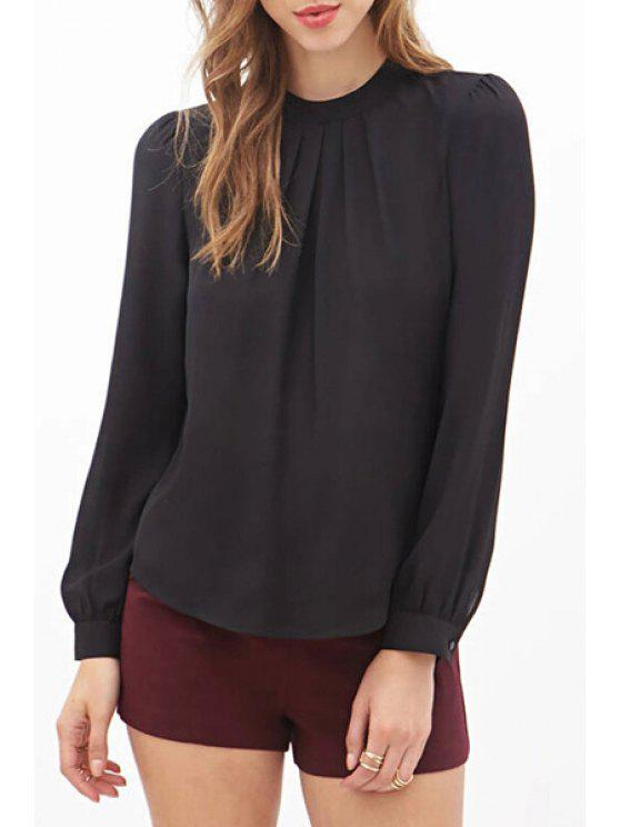 womens Round Neck Ruffle Solid Color Long Sleeve Shirt - BLACK S