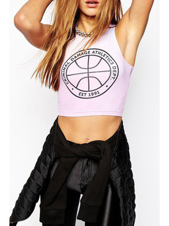chic Basketball Print Sleeveless Crop Top - LIGHT PINK S