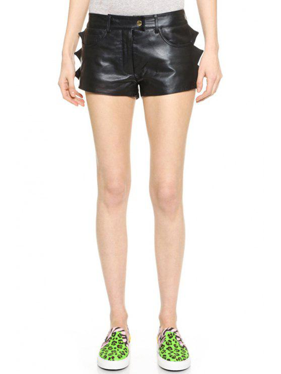 shop Black PU Leather Straight Leg Shorts - BLACK M
