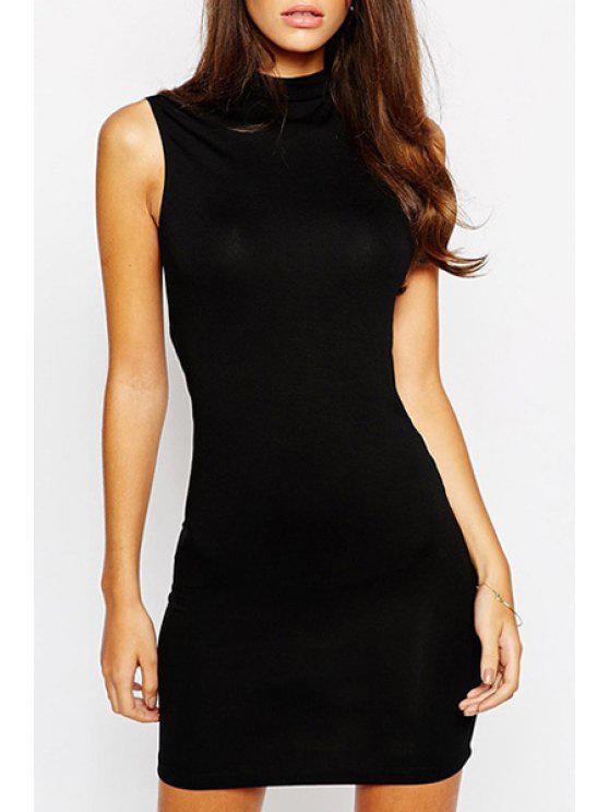 trendy Sleeveless Open Back Black Bodycon Dress - BLACK S