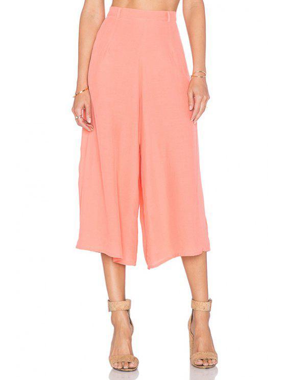 womens Pink Wide Leg Capri Pants - PINK 2XL
