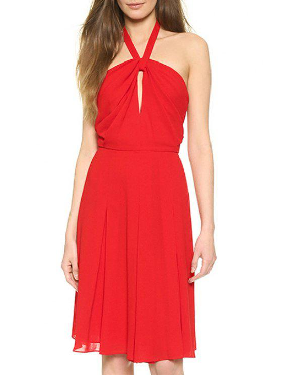 women Halter Neck Hollow Out Red Sundress - RED L