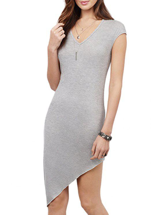 chic Pure Color Irregular Hem Bodycon Dress - GRAY S