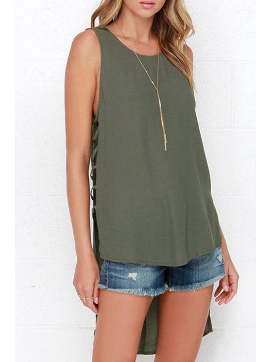 ladies Hollow Pure Color Scoop Neck Tank Top - OLIVE GREEN XL