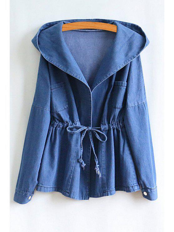 buy Hooded Tie-Up Bleach Wash Long Sleeve Coat - BLUE ONE SIZE(FIT SIZE XS TO M)