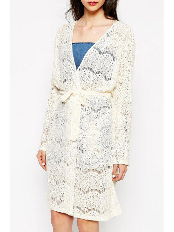 women's Long Sleeve Openwork Lace Hook Sunsreen Blouse - WARM WHITE LIGHT M