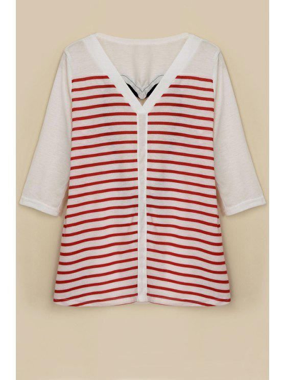 trendy Stripe Backless Half Sleeve T-Shirt - RED WITH WHITE S