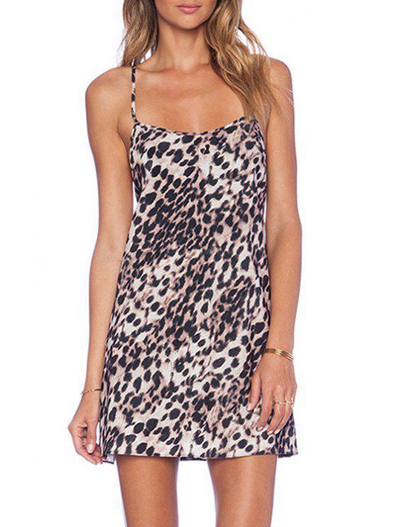 women Leopard Print Cami Backless Dress - LEOPARD M
