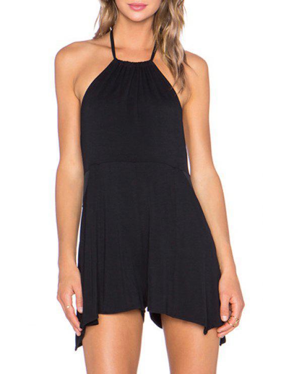 women's Halter Neck Backless Color Block Playsuit - BLACK S