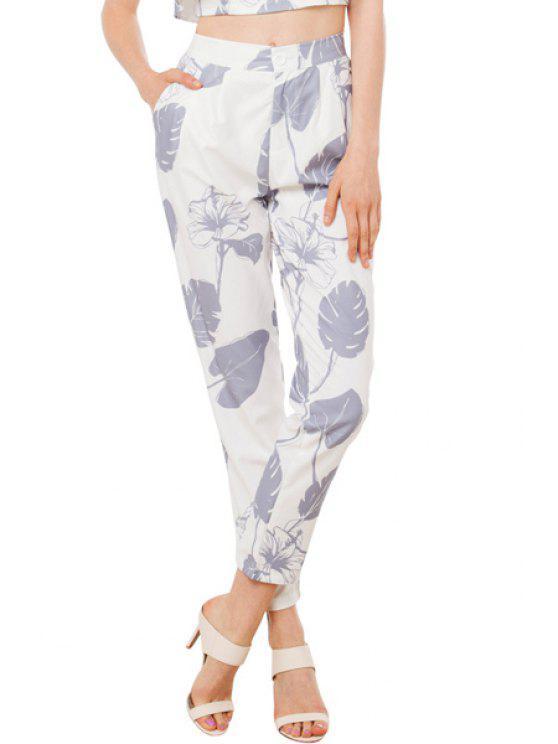 women Leaf Print High Waisted Pants - WHITE S