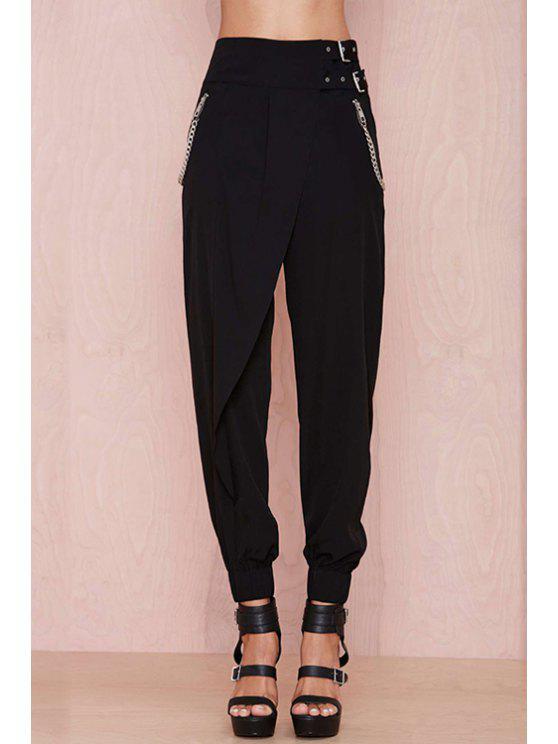 online Black High Waisted Narrow Feet Pants - BLACK S