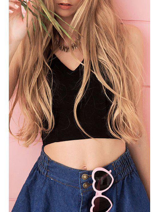 sale Black V Neck Sleeveless Crop Top - BLACK M