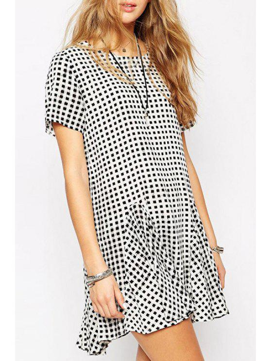 best Plaid Loose-Fitting Fishtail Dress - WHITE AND BLACK S