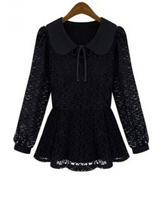 chic Peter Pan Collar Tie-Up Lace Blouse - BLACK S