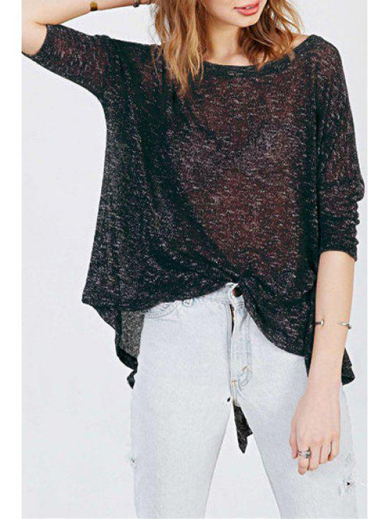 hot Black Long Sleeve Loose T-Shirt - BLACK S
