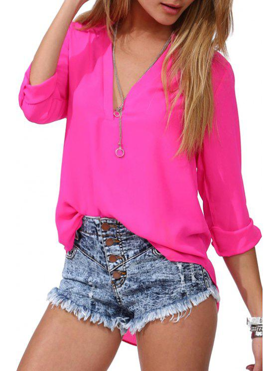 sale Rolled Sleeve Loose-Fitting Chiffon Shirt - ROSE 2XL