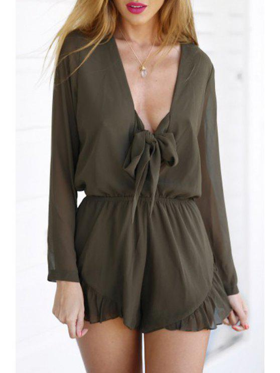 new Ruffled Plunging Neck Long Sleeve Playsuit - BROWN S