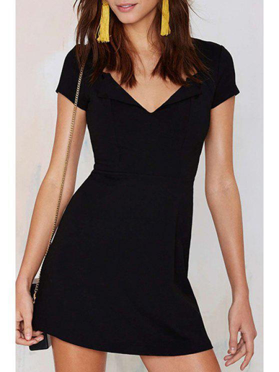 outfits Covered Zipper Black Mini Dress - BLACK S