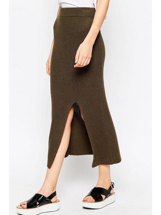 women's Midi Skirt In Knit With Split - BROWN S