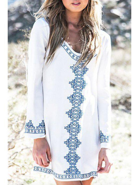 fashion Long Sleeve Blue Print Loose-Fitting Dress - WHITE ONE SIZE(FIT SIZE XS TO M)