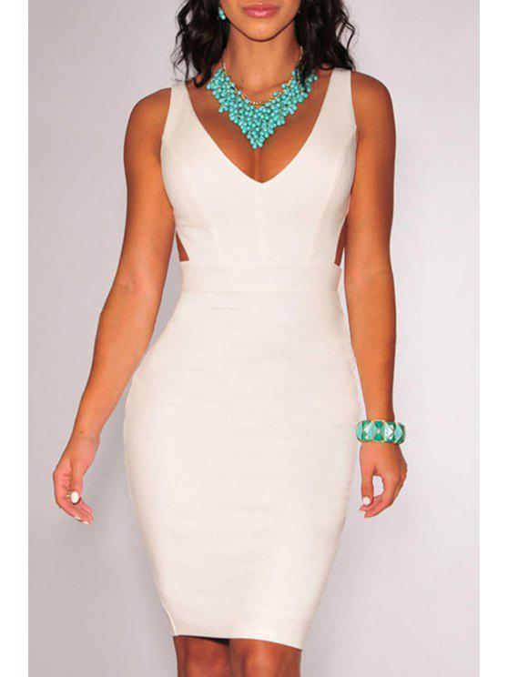 women's V Neck Solid Color Backless Dress - WHITE M