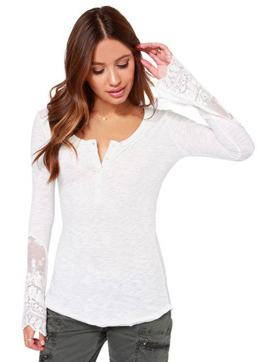 online Long Sleeve Lace Spliced Openwork T-Shirt - WHITE S
