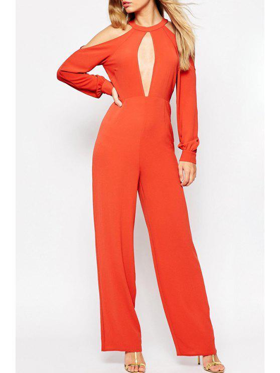 fancy Cold Shoulder Wide Leg Jumpsuit - ORANGEPINK S
